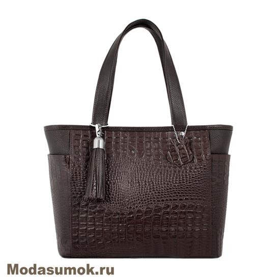 c250e954d3dd Женская сумка из натуральной кожи L-Craft L 14 коричневый кайман ...